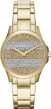 Ladies Gold Plated Stone Dial Bracelet Watch Ax5242
