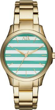 Ladies Gold Plated Striped Dial Bracelet Watch Ax5233