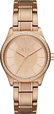 Ladies Rose Gold Plated Bracelet Watch Ax5442