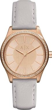 Ladies Rose Gold Plated Grey Strap Watch Ax5444