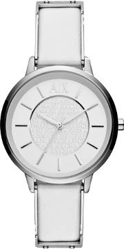 Ladies White Leather Strap Watch Ax5300