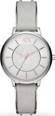 Ladies White Leather Strap Watch Ax5311