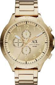 Mens Gold Plated Chronograph Bracelet Watch Ax1752