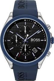 Mens Velocity Black Dial Blue Rubber Strap Watch 1513717