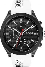 Mens Velocity Black Dial White Rubber Strap Watch 1513718