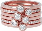 Purezza Set Of 6 Cubic Zirconia Solitaire Stacking Ring Wsbz00764.wr 16 O