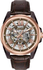 Rose Gold Plated Leather Strap Watch 98a165
