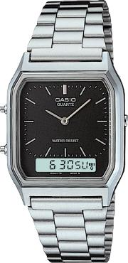 Mens  Collection Steel Black Dual Display Watch Aq 230a 1dmqyes