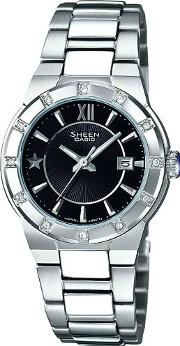 Sheen Round Black Dial Watch She 4500d 1aef