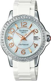Sheen White Plastic Mother Of Pearl Watch She 4026sb 7adr
