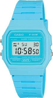 Unisex  Collection Digital Display Blue Rubber Strap Watch F 91wc 2aef