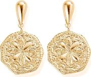 Ariella Gold Plated Flower Coin Dropper Earrings Gedr1031