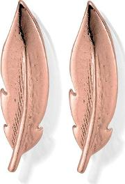 Inner Spirit Rose Gold Plated Cuff Feather Earrings Rest729