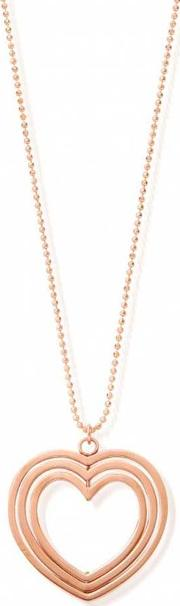 Rose Gold Plated Three Heart Pendant And Chain Rndc2075
