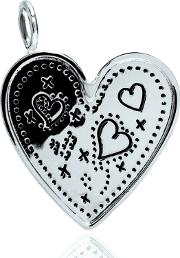 Silver Bliss Hearts And Kisses Tag Charm Crcn0028