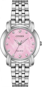 Ladies Eco Drive Jolie Diamond Pink Watch Em0710 54y