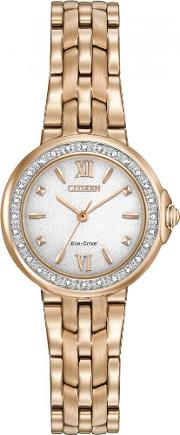 Ladies Eco-drive Rose Gold Plated Diamond Bracelet Watch Em0443-59a