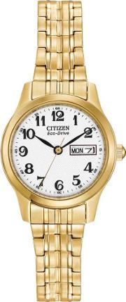 Ladies Gold Coloured Expandable Watch Ew3152 95a