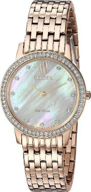 Ladies Silhouette Crystal Rose Gold Plated Bracelet Watch Ex1483 50d