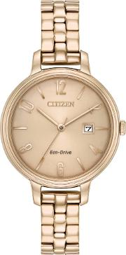 Ladies Silhouette Rose Gold Plated Watch Ew2443 55x