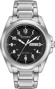 Mens Eco Drive Black Dial Watch Aw0050 82e