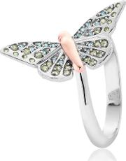 Silver 9ct Rose Gold Butterfly Pave Ring 3sbwrn