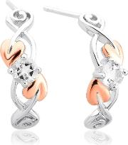 Silver 9ct Rose Gold Tree Of Life Two Colour White Topaz Dropper Earrings 3stolqe