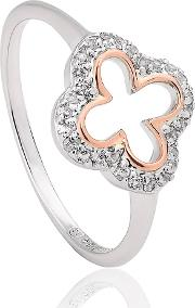 Silver 9ct Rose Gold Two Colour White Topaz Tudor Court Ring 3stdcro