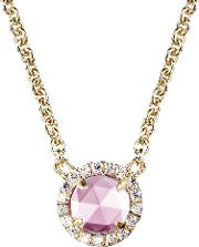 Ladies Micro Pave Brilliant Pink Necklace 309976n16pi