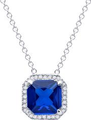 Silver Blue Cubic Zirconia Cushion Halo Necklet 9010094n16sa