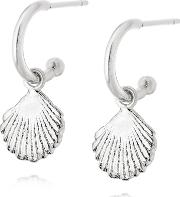 Isla Sterling Silver Clam Dropper Earrings Se06 Slv