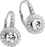 Silver Clear Cubic Zirconia Round Halo Dropper Earrings 62-1670-1-582