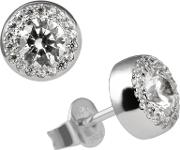 Silver Clear Cz Round Cluster Earrings 62-1467-1-082