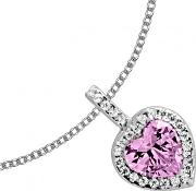Silver Clear Pink Cubic Zirconia Heart Pendant 65-1199-1-102