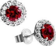 Silver Clear Red Cubic Zirconia Cluster Stud Earrings 62-1558-1-088