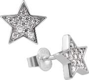 Silver Cubic Zirconia Pave Star Stud Earrings 6217531082