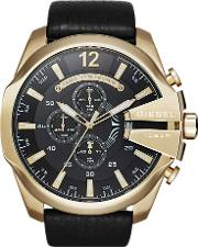 Mens Mega Chief Gold Plated Chronograph Strap Watch Dz4344