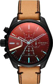 Mens Ms9 Chronograph Brown Leather Strap Watch Dz4471