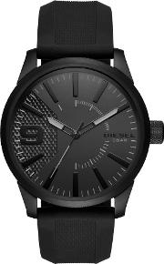 Mens Rasp Stainless Steel Black Dial Rubber Strap Watch Dz1807