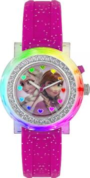 Anna And Elsa Pink Rubber Strap Watch Fzn3565d