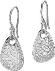 Silver Hammered Pebble Drop Nomad Earrings Ne229 S