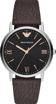 Black Dial Brown Strap Watch Ar11153