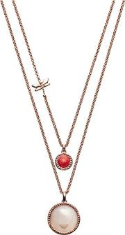 Caged Rose Gold Plated Two Row Necklace Egs2565221