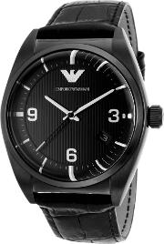 Classic Mens Black Leather Strap Watch Ar0368