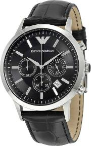 Gents Stainless Steel Black Chronograph Dial Black Strap Watch Ar2447