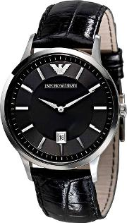 Gents Stainless Steel Black Dial Black Strap Watch Ar2411