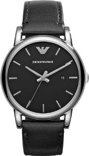 Gents Stainless Steel Round Black Dial Black Leather Strap Watch Ar1692