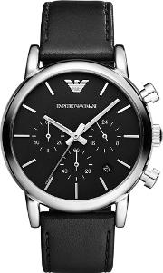 Gents Stainless Steel Round Black Dial Black Leather Strap Watch Ar1733