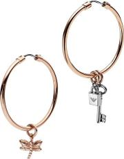 Heritage Rose Gold Plated Multi Charm Hoops Egs2579221