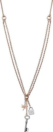 Heritage Rose Gold Plated Multi Charm Necklace Egs2578221